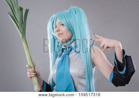 Woman with leek