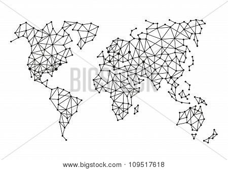 Triangle Polygonal Style World Map on White Background. Vector
