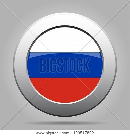 Metal Button With Flag Of Russia