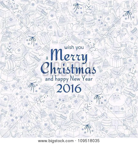 Christmas greeting card with text wish you a Merry Christmas and many winter doodles. Santa, toys, c