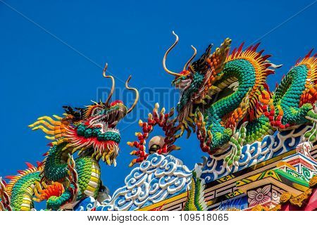 Chinese Dragon blue sky.