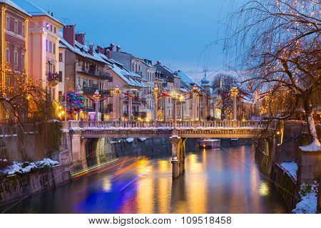 Ljubljana in Christmas time. Slovenia, Europe.