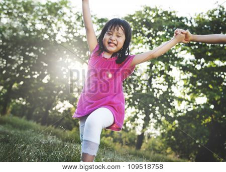 Little Girl Happiness Fun Holiday Concept