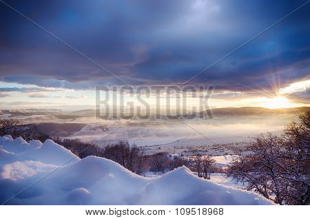 Beautiful View Of The Snow-covered Mountains