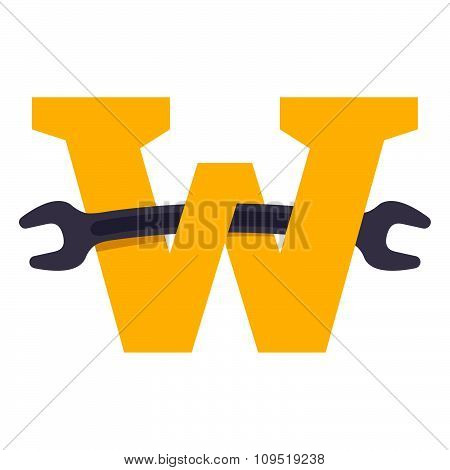 W Letter With Wrench.