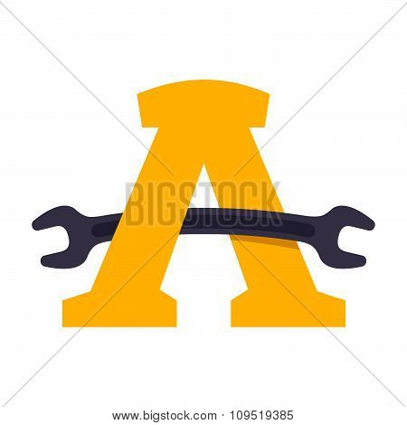 Letter A With Wrench.