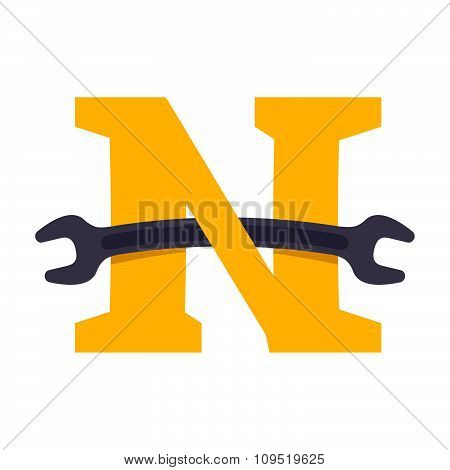 N Letter With Wrench.