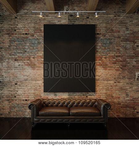 Photo of black empty canvas on the natural brick wall background and vintage classic sofa. 3d render