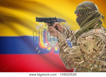 Male In Muslim Keffiyeh With Gun In Hand And National Flag On Background - Ecuador