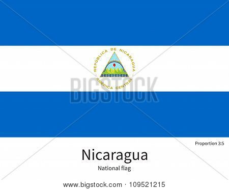 National flag of Nicaragua with correct proportions, element, colors