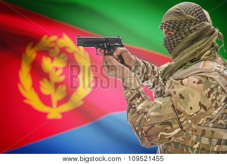 Male In Muslim Keffiyeh With Gun In Hand And National Flag On Background - Eritrea