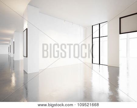 Empty gallery of contemporary museum. 3d render