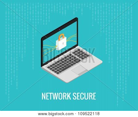 network secure illustration with laptop and lock icon on the digital blue background. Isometric view