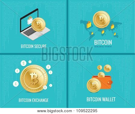 bitcoin illustration set -  coins, wallet, secure and exchange icons on the digital blue background.