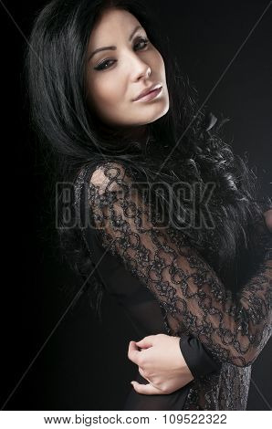 Luxury Girl In Lace Black Dress