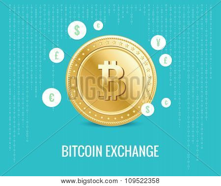 bitcoin exchange illustration with currency icons on the digital blue background.