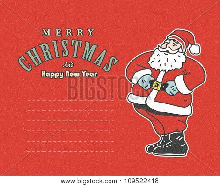 vintage red post card with Santa Claus  and place for your text.