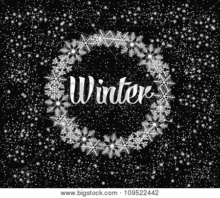 Winter Background With Circle Of Snowflakes