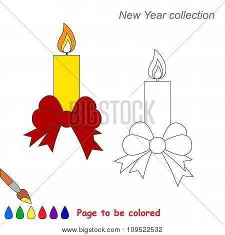 Xmas candle with bow vector cartoon to be colored.