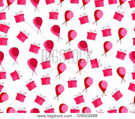 Seamless pattern. Gift boxes and balloons. Vector illustration. Seamless festive wrapper.
