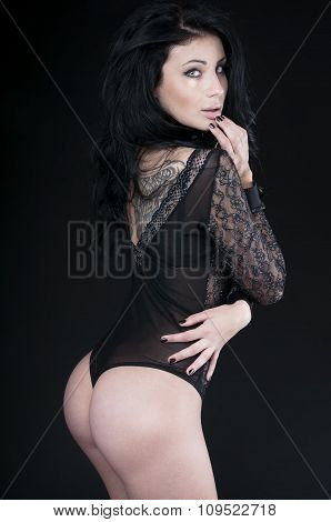 Luxury Woman Wearing Black Sensual Lingerie, Looking At Camera.