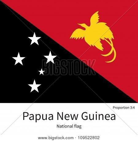 National flag of Papua New Guinea with correct proportions, element, colors