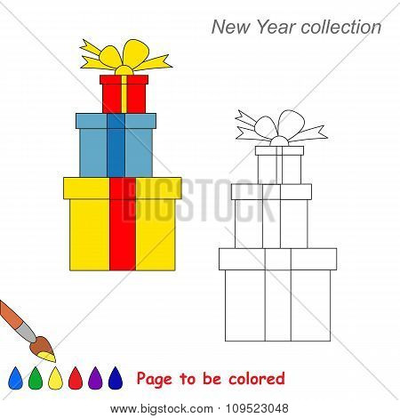 Xmas gifts vector cartoon to be colored.