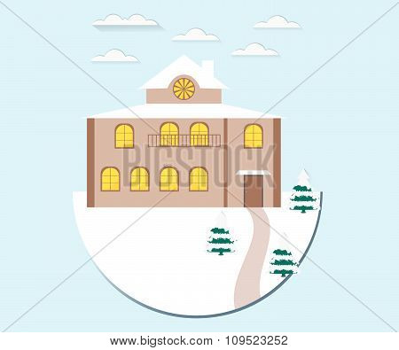 Winter landscape. House in the snow. Vector illustration in a flat style.