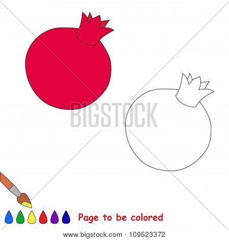 Pomegranate vector cartoon to be colored.