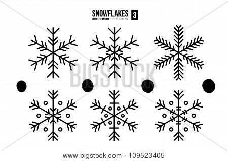 Abstract outline snowflakes.
