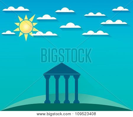 Greek and Roman architecture. The monument of architecture with columns in a landscape with clouds a