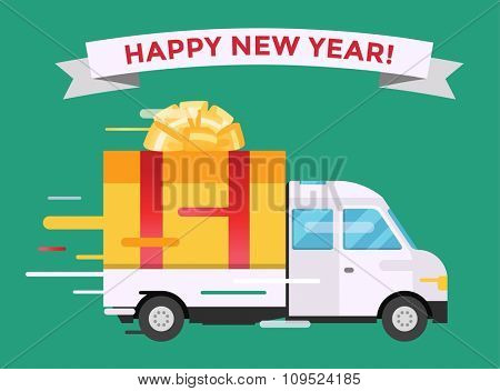 Delivery vector transport truck van Christmas gift box bow ribbon. Delivery service van New Year greeting card. Delivery truck, gift box. Wedding box, birthday box. New Year hipping transport icon