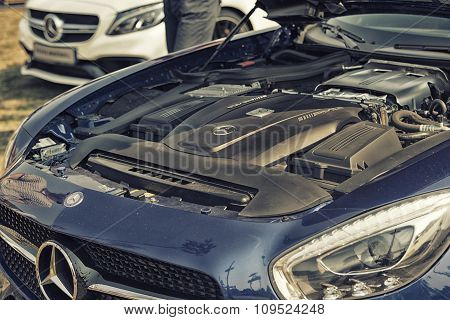 Sleza, Poland, August 15, 2015: Close Up On Mercedes Amg Engine  On  Motorclassic Show On August 15,