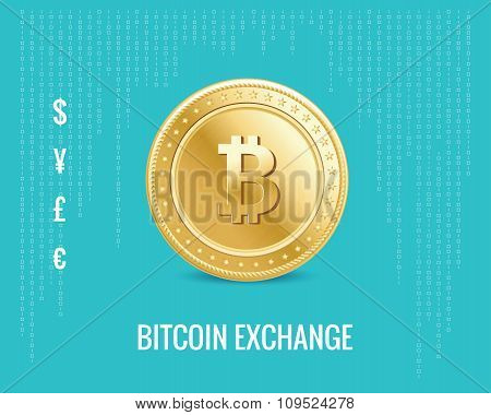 bitcoin exchange icon on the digital blue background.