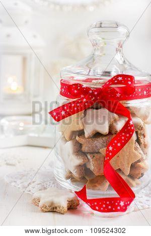 Christmas Cookies In Glass Jar