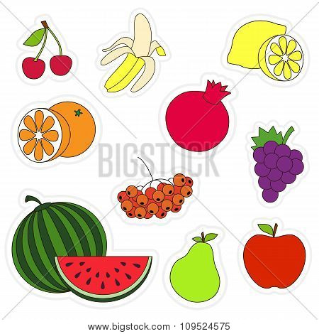 Colorful fruit set.