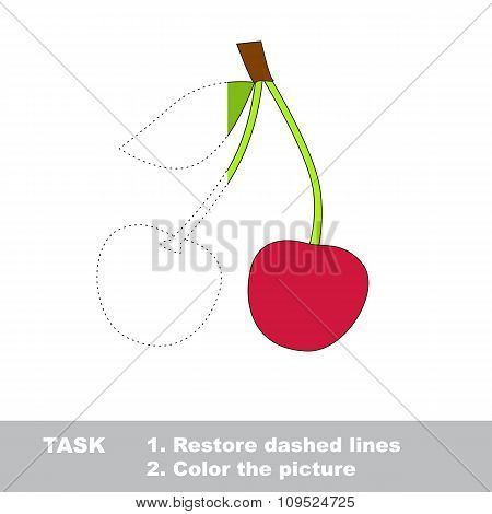 Sweet cherry to be colored. Vector trace game.