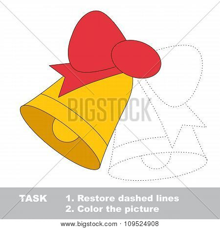 Xmas bells with bow to be colored. Vector trace game.