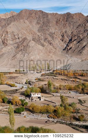 Beautiful small village at Leh during falls, Ladakh, India.