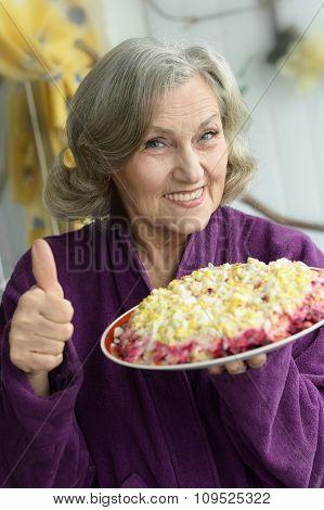 Closeup of a senior woman