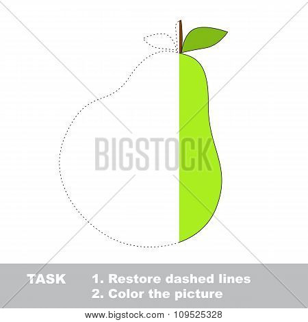 Pear to be colored. Vector trace game.