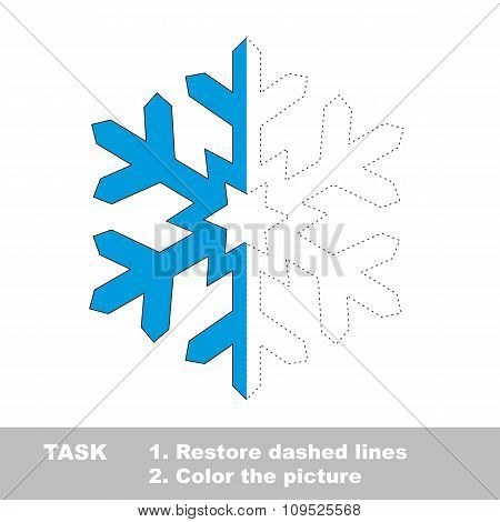 Snowflake to be colored. Vector trace game.