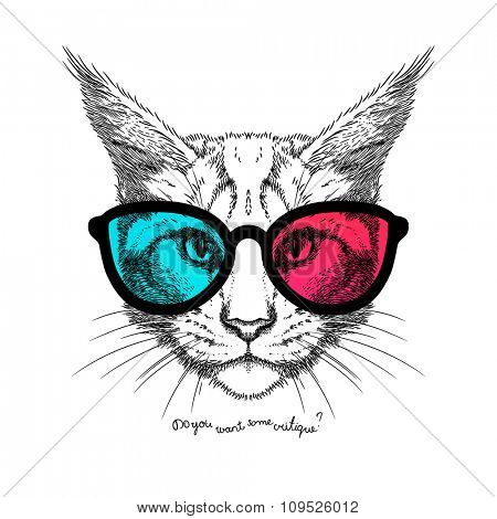 Hand Drawn stylized portrait of cat face in 3D glasses