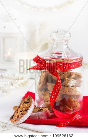 Cookies Biscotti In Glass Jar For Christmas
