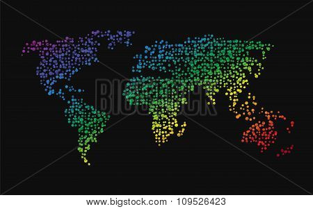 world map made up of small dots rainbow colors poster