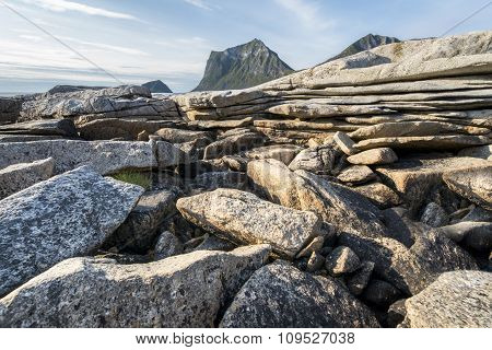 Rocky Coastline On Lofoten Islands