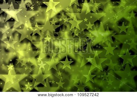Green And Yellow Stars Background With Bokeh Effect