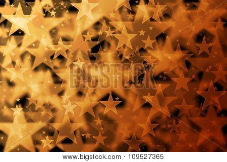 Orange And Brown Stars Background With Bokeh Effect