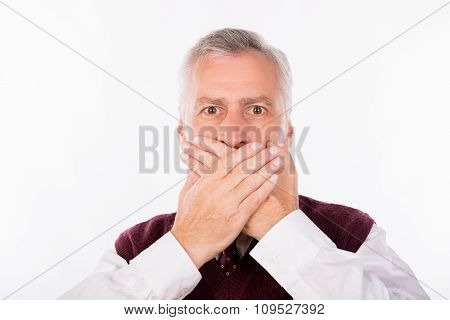Handsome Confident Businessman With Gray Beard Shutting Mouth