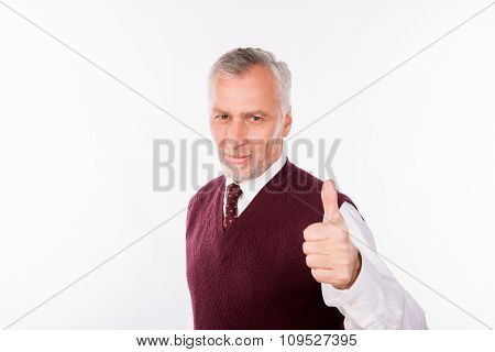 Handsome Confident Businessman With Gray Beard Showing Thumb Up